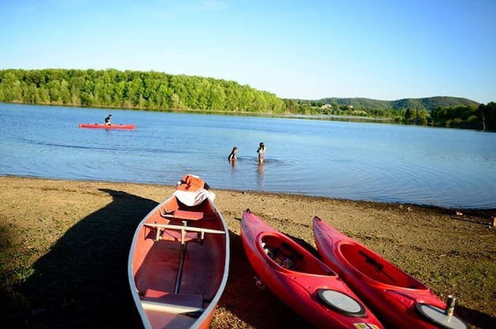 Leaser Lake, just over a mile from the farm. Loop trail and kayak, canoe and SUP rentals.