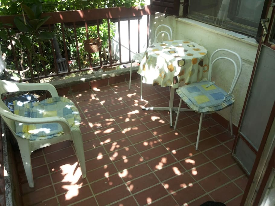 There is always a grape shadow and a fruit garden in front of the terrace