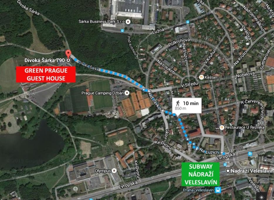 Come to the comfortable guest house in the green neighborhood of the main public transport hub between the Vaclav Havel Airport and Prague Old Town. You will stay in the largest natural park of Prague and 20 minutes from downtown and airport in the same time.