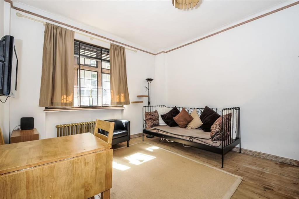 Main room of the studio with double glazed window looking onto Judd Street. Sofa doubles as a large single bed.