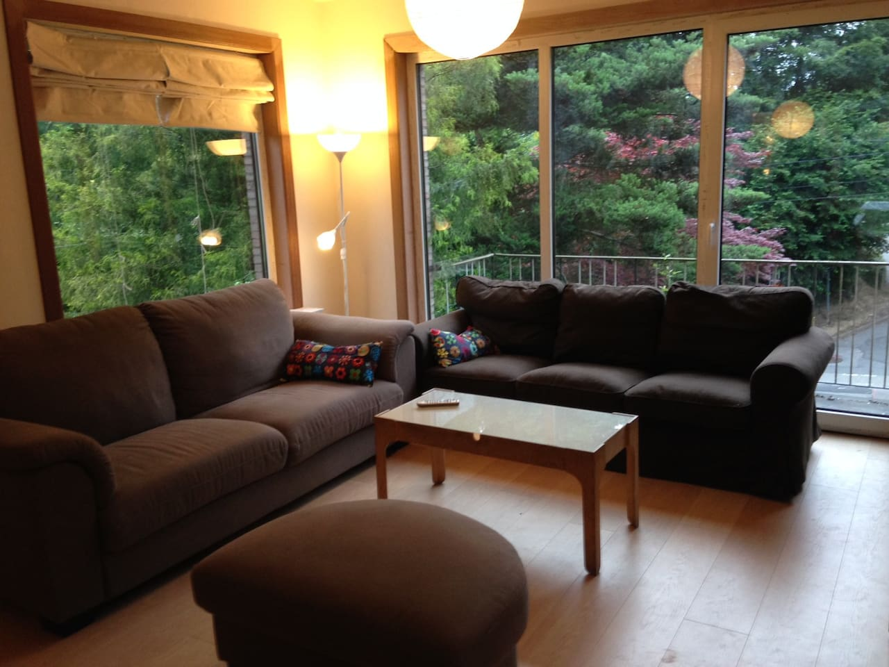 Living room (sofas, TV, large dining table)