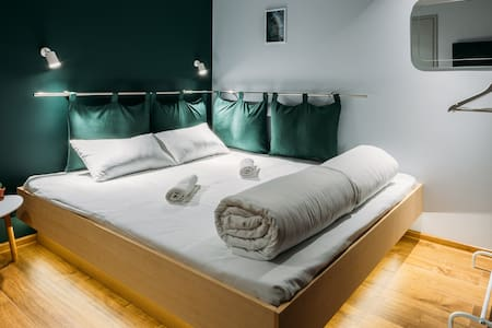 Green Double bed room at Yard Hostel & Coffee