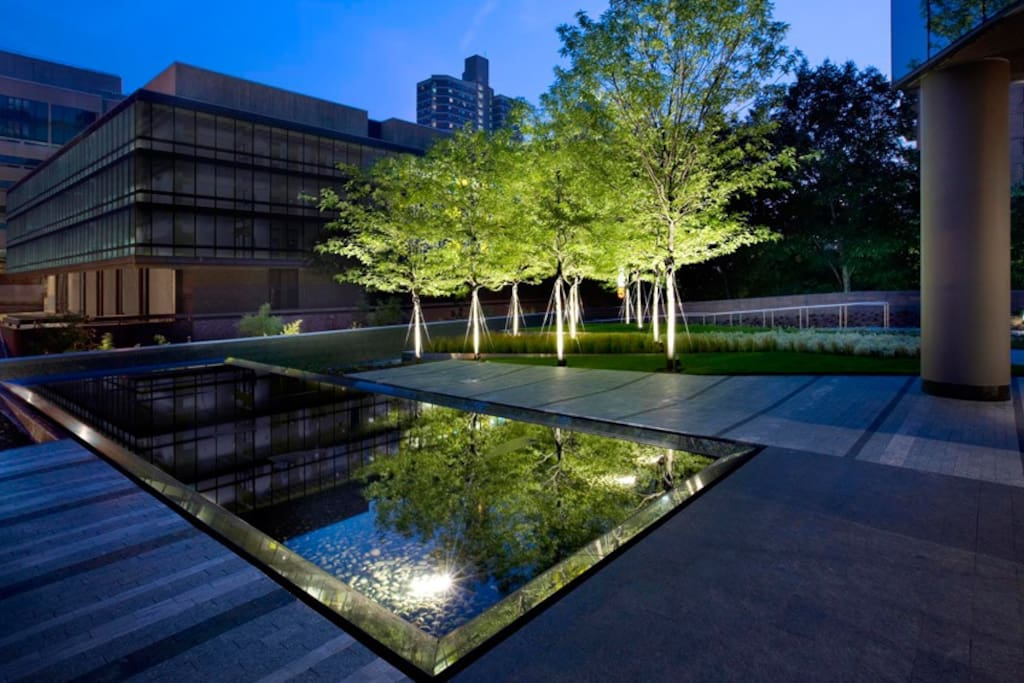 Private garden with reflecting pool