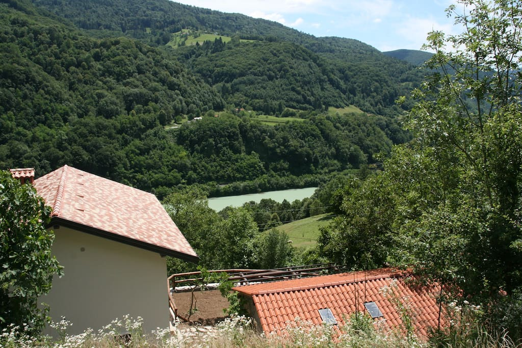Views from the upper garden on the Soca Valley and river
