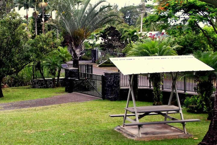The front gate and picnic area