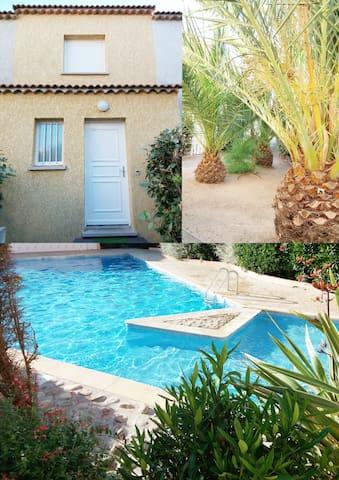 Valras : Villa T3 à 50 m de la plage, avec piscine