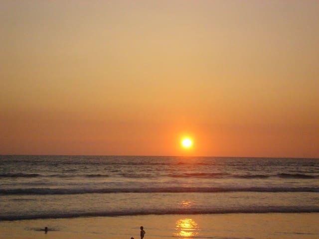 Sunset over Canoa beach