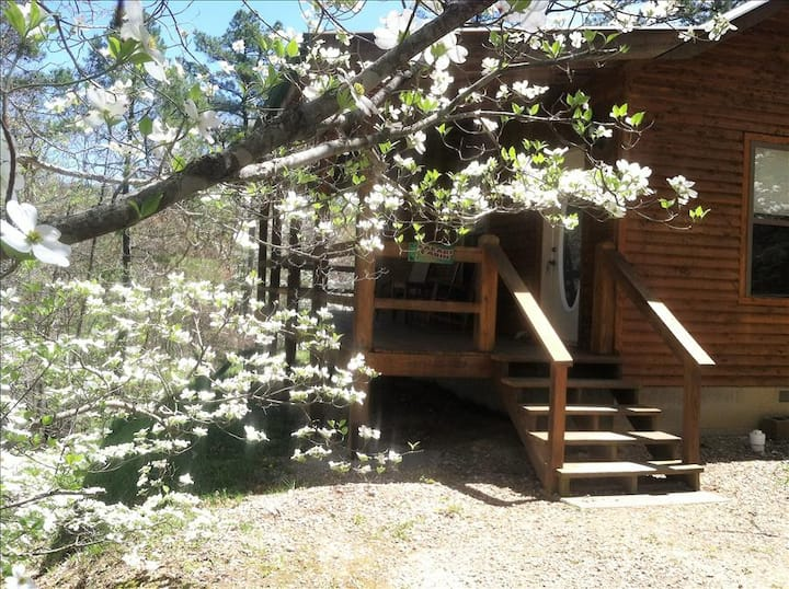 Safari Cabin, King Bed, GIANT SPA TUB, Fireplace, Tranquil, near Eureka Springs / Kings River