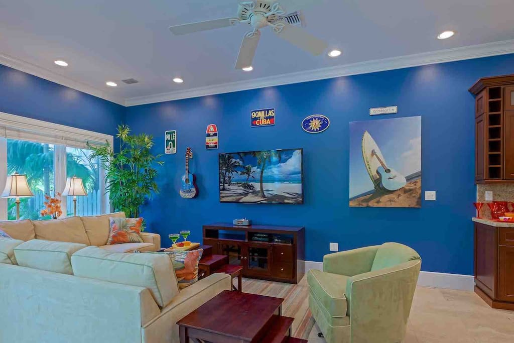 The living area boasts a gigantic 60-inch flat screen Smart HDTV, which you can watch from the comfort of the plush living room furniture...