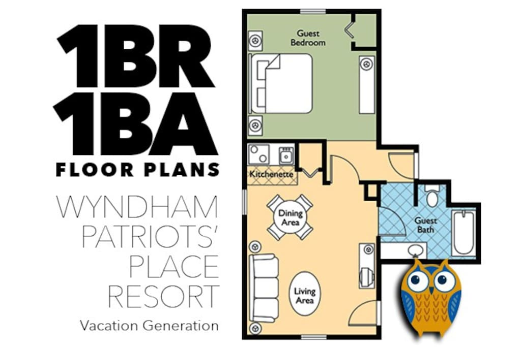 Floor Plans and Layout for 1 Bedroom Condo at Wyndham Patriots' Place.