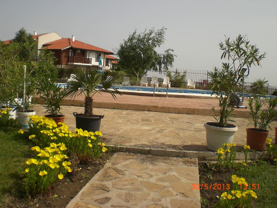 the terrace entrance to the swimming pool area