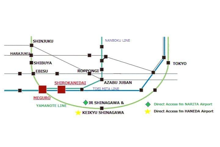 Airport Access to Shirokanedai: the nearest train station