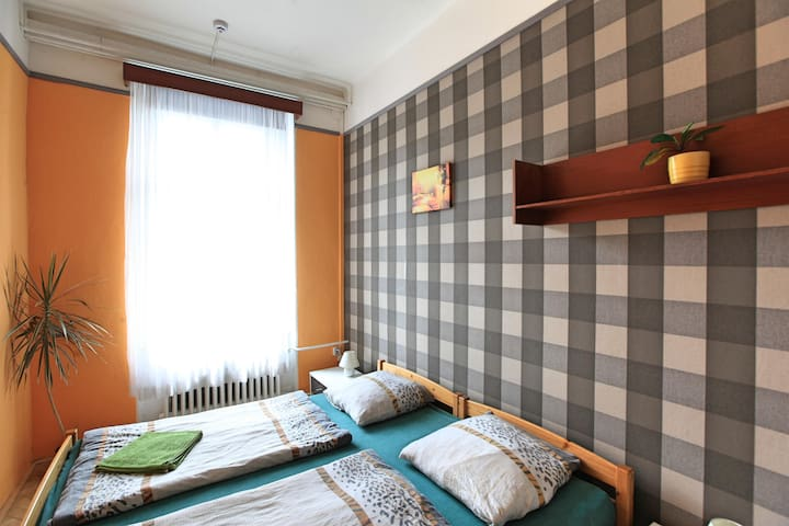 Double room in Zizkov hostel, breakfast included