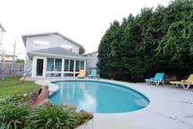 Beautiful fun pool at the large private and fenced yard. Pool can be heated upon request (up to 96f!) with additional fee
