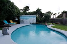 A view of the pool from the house