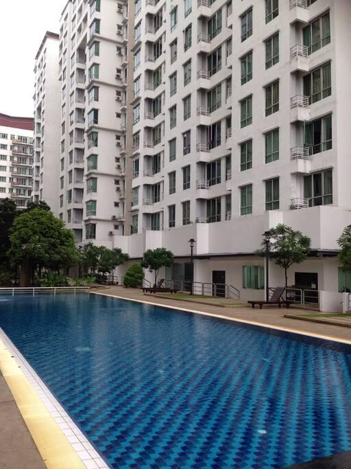 Swimming pool and view of Casa Tiara Condominium.