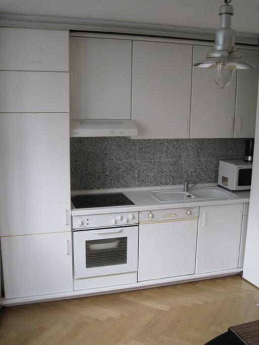 Kühlschrank mit Gefrierfächern, Herd, Geschirrspülmaschine, Mikrowelle