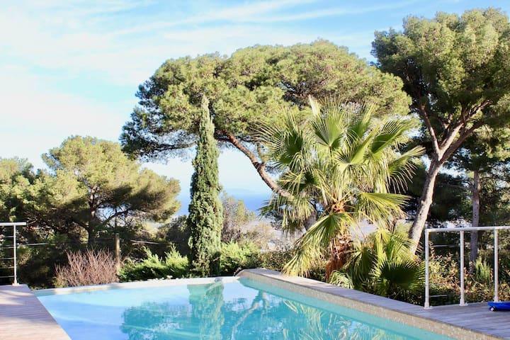 Villa 8 pers, Mont des oiseaux, vue mer , piscine