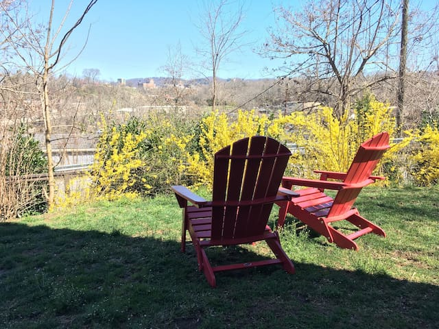 There is plenty of room to relax in the backyard and take in the downtown and mountain scenery.