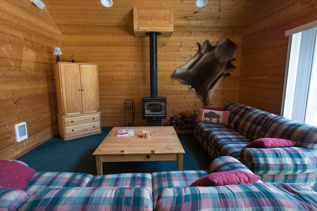 Wood stove is easy to use, cabin is always stocked with wood