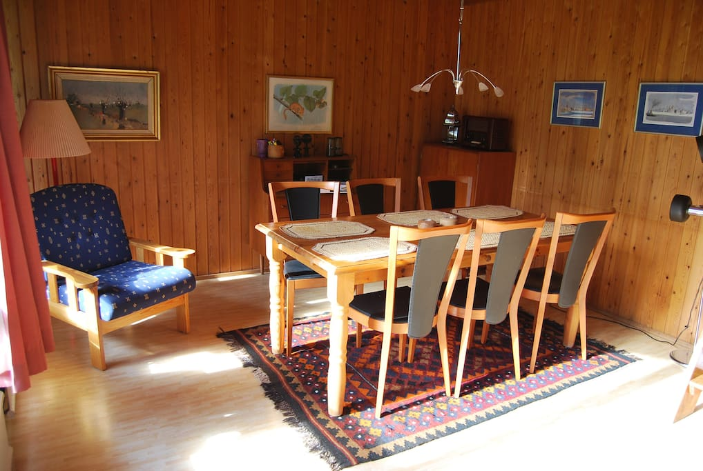 The shining interior of the cabin