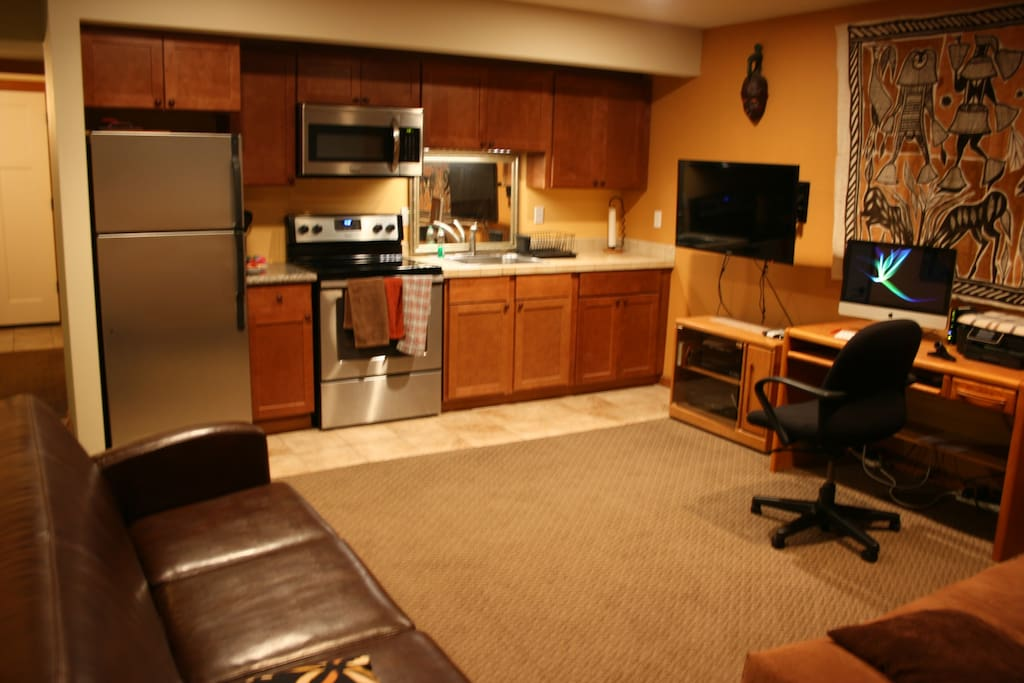 Kitchen and rec room, accessible to all housemates