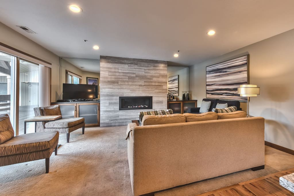 """Living Room with 42"""" LCD TV, DVD, Stereo, Gas Fireplace, and Private Deck"""