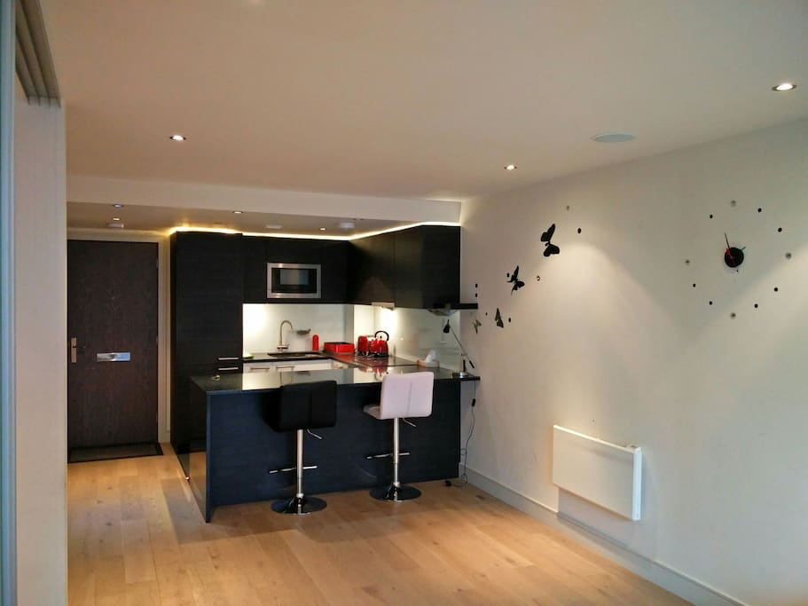 The open plan kitchen space