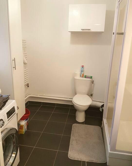 Salle de bain 1 er niveau avec douche toilettes et lavabo