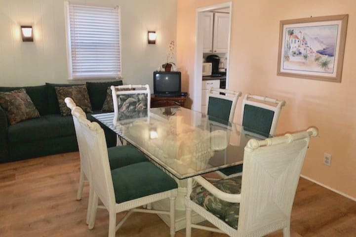 """Dining room is 10""""x 17"""" Table seats 6 or 8."""