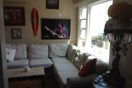 Rent a huge 18 x 14 bedroom  with a heavenly comfortable bed!!!!  Minimum 3 nights  100 yards to beach!  Laundry IN unit!  AC, full kitchen & bath.  Your host is a well known artist and musician sure to provide you with a true Venice experience!  :)