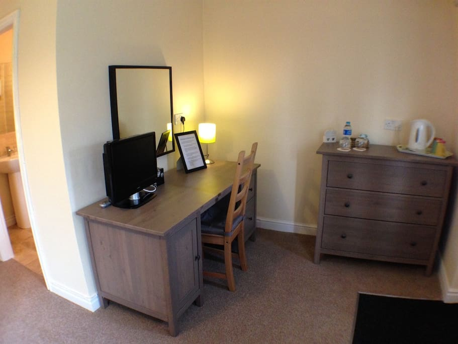 TV, desk and tea and coffee making facilities