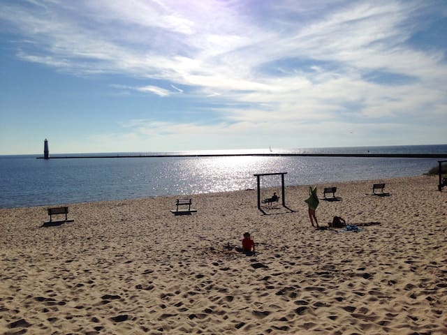 Lake Michigan is just 1 block away! Lovely sunsets, fishing, water sports, beach volleyball and more!