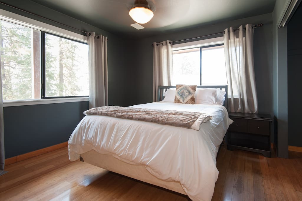Master bedroom with queen bed, closet and smart T.V.