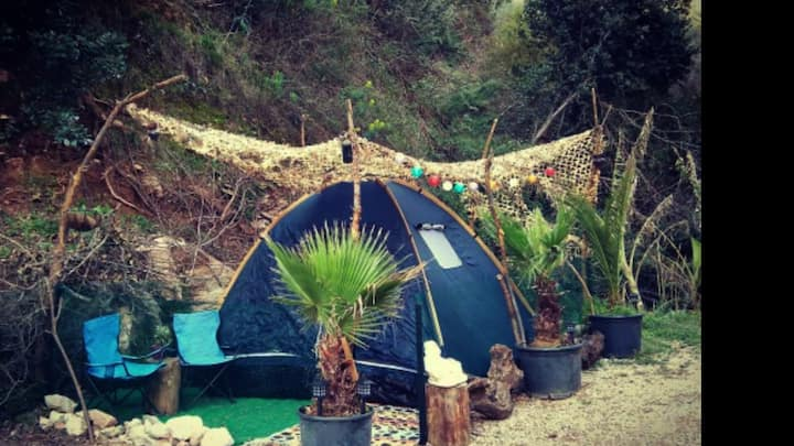 on the lycian way , big tent , twin bed inside
