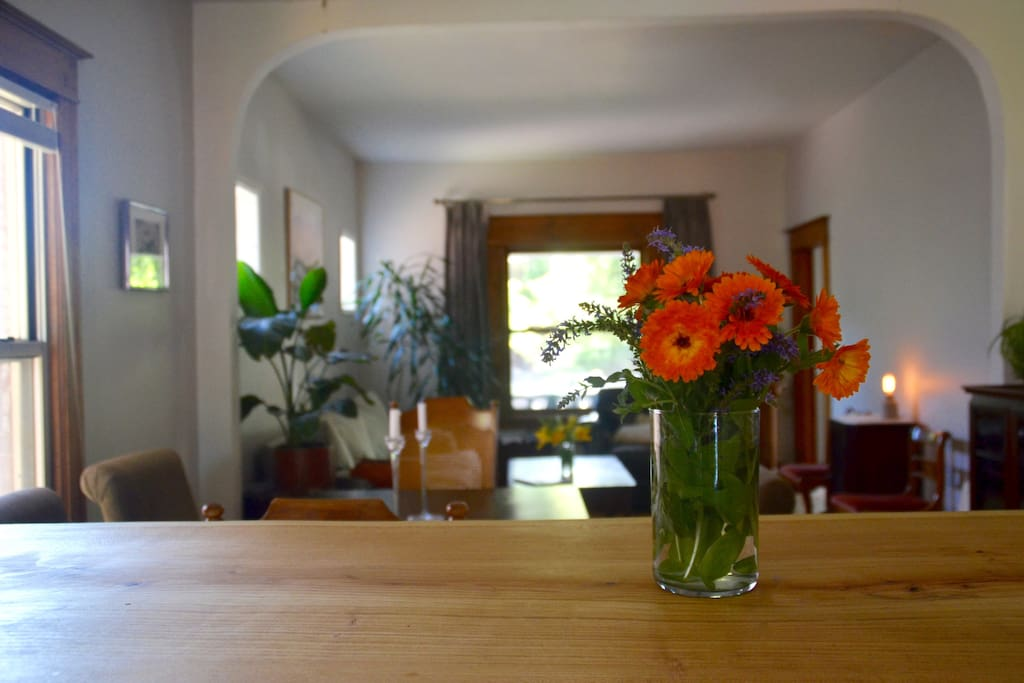 Fresh flowers from the garden are always abundant in my home.