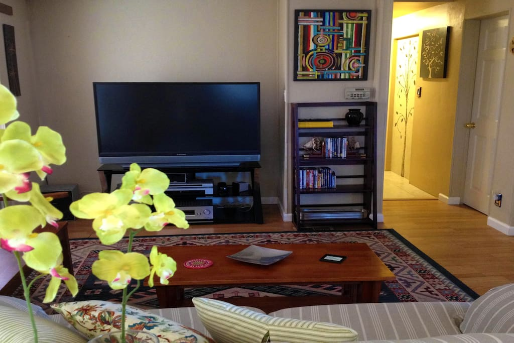 Living room, Surround sound system and small selection of movies, Internet & Phone free for USA Calls.