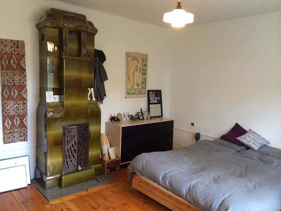 Comfortable double bed, draw space for guest, space for luggage outside room