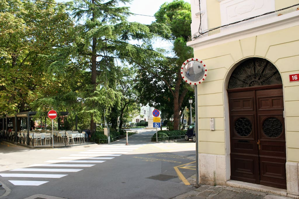 Entrance in the building, where are three apartments, together called Park Apartments