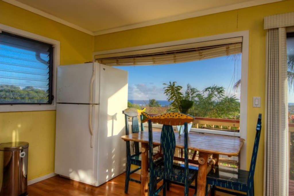 Dining area, fridge with freezer
