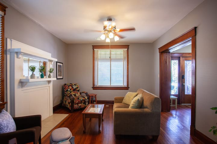Comfortable Living Space with LaZ Boy recliner and couch. Ceiling Fans throughout compliment Central Air Conditioning.