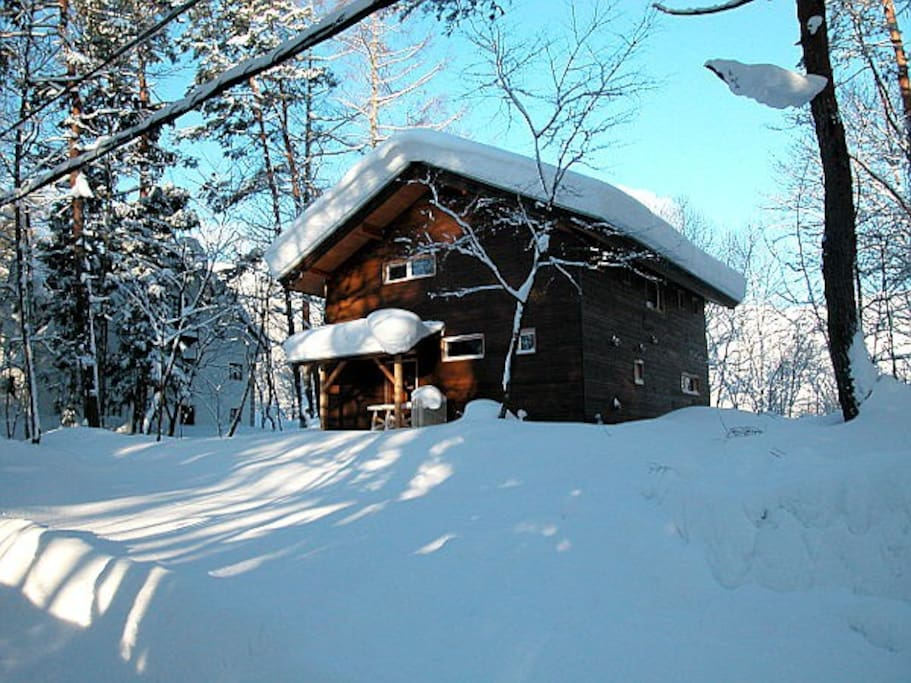 Front of the Chalet in Winter.