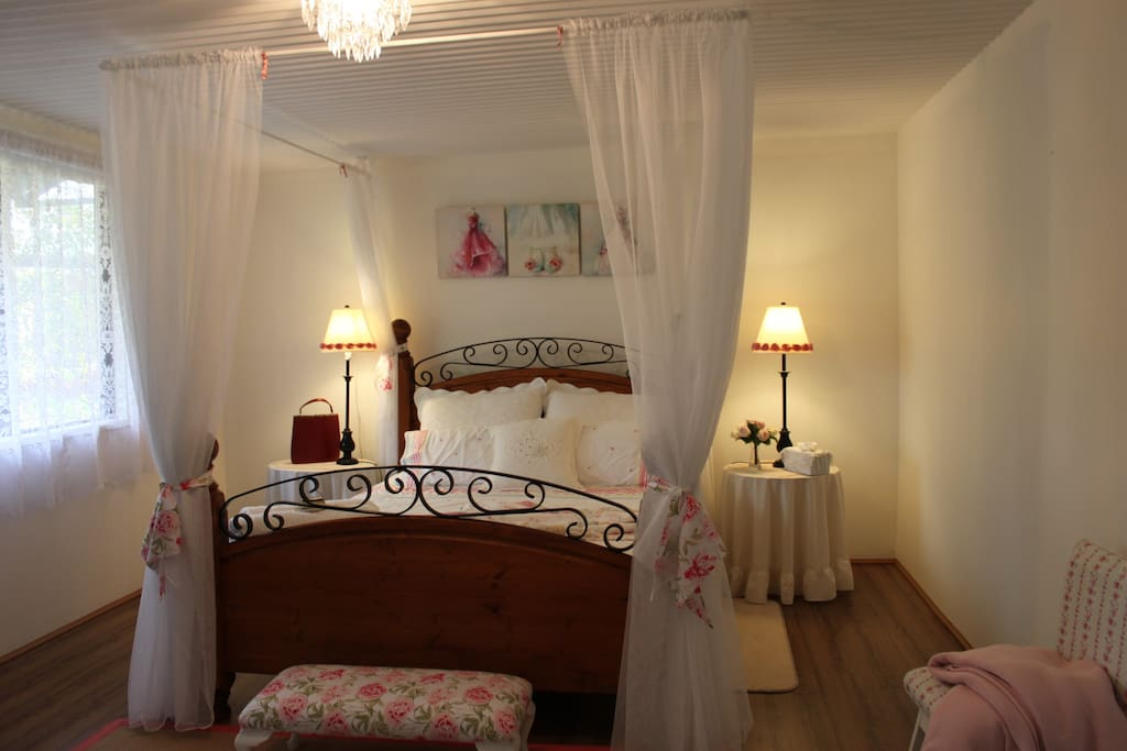 Romantic bedroom setting with old world luxe.