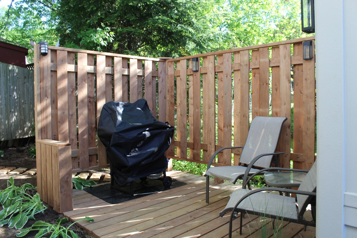 Deck is equipped with a propane BBQ. A mix of shade and dappled sunlight not available during winter season