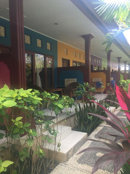8 different coloured rooms with lush gardens outside. Patio area to enjoy the outdoors.