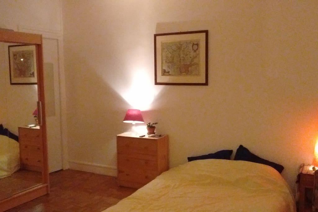 bedroom: double bed, wardrobe, cupboard.