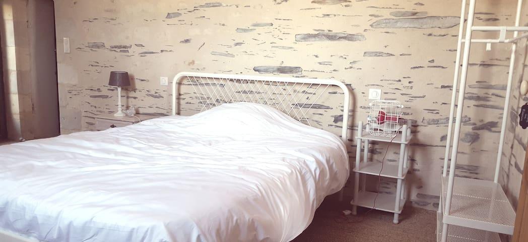 Chambre aux oiseaux. Grand lit de 160. Entrée indépendante. Salle d'eau ouverte avec douche à l'italienne.