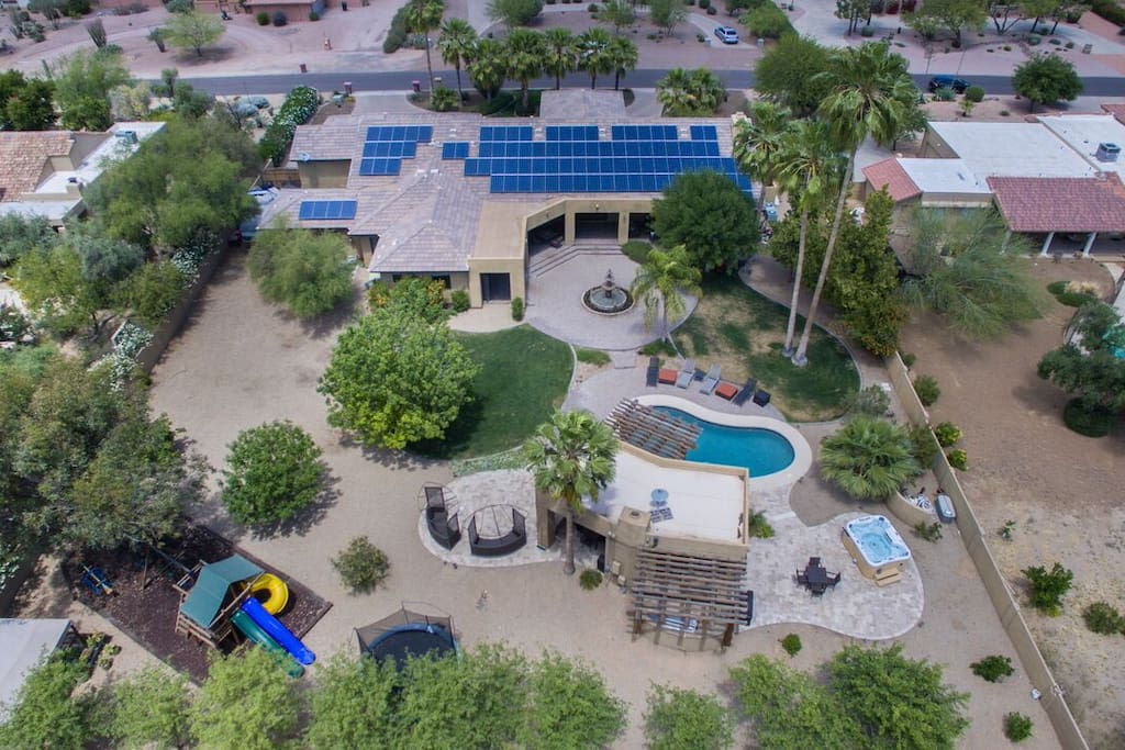 Total aerial view of home