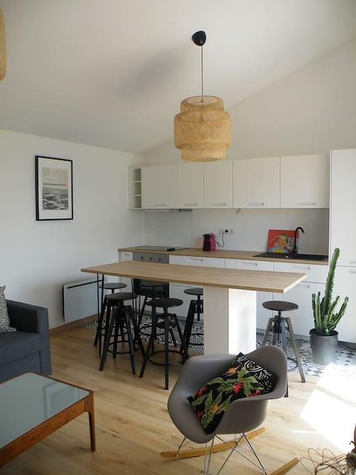 salon/cuisine avec canapé lit donnant sur l'exterieur