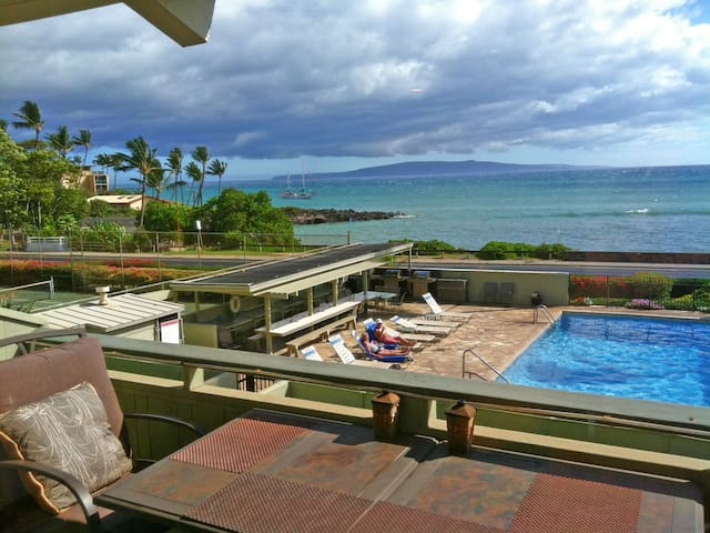 View From the Lanai with Pool, Ocean, and Islands in the Distance
